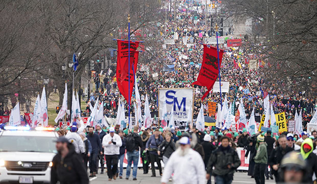People walk up Constitution Avenue headed toward the U.S. Supreme Court while participating in the 47th annual March for Life in Washington Jan. 24, 2020. (CNS photo/Kevin Lamarque, Reuters)